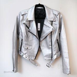Romeo & Juliet Metallic Faux Leather Moto Jacket